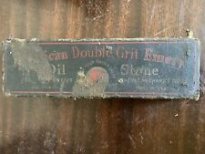 AMERICAN DOUBLE GRIT EMERY OIL SHARPENING STONE WITH ORIGINAL BOX VINTAGE TOOL