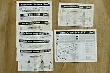 Lot de 8 Notices manuels d'instructions d'avions Revell - Vintage