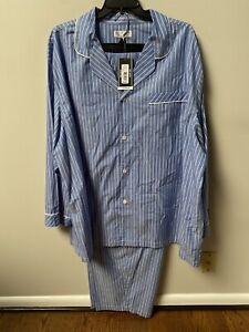 Roundtree & Yorke Blue Stripped 2pc Pajama Set Big&Tall XLT,2XT,2XB,3XB,4XB NWT