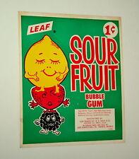 Vtg Large Sour Fruit Leaf Gum Ball Machine Vending Display Card 1960s NOS New
