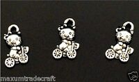 zinc metal silver hello kitty charm pendant beads 12mm 10,25,50pcs by 1st class