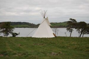 FIRE CERTIFIED 22' CHEYENNE STYLE tipi/teepee, Door flap, carry bag, Lacepins