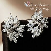 18K White Gold Plated Simulated Crystals Gorgeous Wedding Bridal Stud Earrings