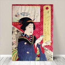 "Vintage Japanese Geisha Art ~ CANVAS PRINT 36x24"" ~ Ukiyo-e Kunichika #114"