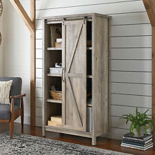 66 Modern Farmhouse Open Storage Bookcase Cabinet, Rustic Gray Light Barn Wood