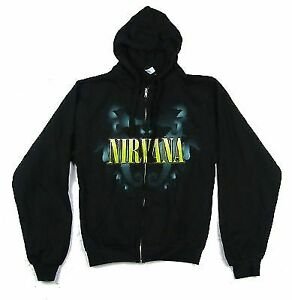 Nirvana Floating Horses Black Zip Up Hoodie NEW. OFFICIAL