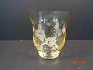 ROYAL DOULTON iridescent Hand Cut Crystal Glass Candle Holder Amber Etched