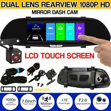 7inch 1080P Car DVR Dual Lens Camera Rear View Mirror Driving Video Recorder