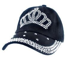 Adjustable Disgn Crown Women Baseball Cap Silver Rhinestone Bling Cotton Hats