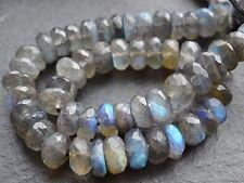"HAND CUT LABRADORITE RONDELLES, 8mm, 10"", 55 beads"