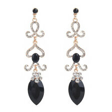 "3.9"" LONG FACETED BLACK  ACRYLIC & DIAMANTE RHINESTONE CRYSTALS DANGLY EARRINGS"