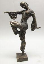 """Fine Vintage 15"""" Bronze Sculpture of Art Deco Lady  DIMITRI CHIPARUS  c. 1950"""