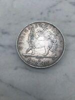 MONETA AFRICA ETHIOPIA 1 BIRR Menelik II A 1889 SIVER COIN