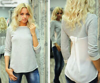 Size 6-14 Sexy Womens Ladies Patchwork Long Sleeve Loose T-Shirt Blouse Top New