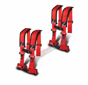 "Dragonfire Seat Belt Harness 4 Point 3"" Padded Red Pair Yamaha Can Am Polaris"