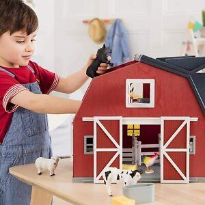 Wooden Animal Barn Toy Barn Farm Toys Playset For Kids 3+