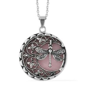 """Healing Rose Quartz Dragonfly Pendant Necklace Gift Jewelry Size 20"""" Ct 55"""