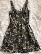 Women's Lottie & Holly Olive Green, Floral Print, Lined, Cotton Dress - sz S