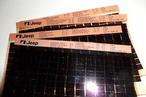 NOS JEEP AMC MICROFICHE FILM 1981  CJ & TRUCKS (1 SET OF4 PAGES)