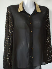 NICE BLACK STUD LADIES WOMENS TOP LONG BLOUSE CHIFFON SHIRT SIZE S/M 8/10 (0.2)
