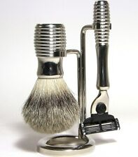 Shaving Set Hans Baier Germany Brush Badger Hair Silvertip Shaver Brass