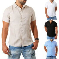 Mens Cotton Linen  T Shirts Solid Color Male Summer Short Sleeve Tops Blouse