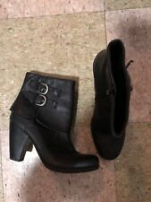 Born Concept Women's Black Leather Cuffed Two Buckle Ankle Boots Size 8.5 💟