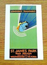 LONDON TRANSPORT POSTER POSTCARD ~ LONDON'S TRAMWAYS ~ ROBERTS JOHNSON, 1931
