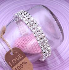 Ladies 3x Row Sparkly Crystal Rhinestone Bracelet Bangle For Women Bride Wedding