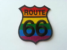 CLASSIC AMERICAN HIGHWAY ROAD SIGN SEW / IRON ON PATCH:- ROUTE 66 RAINBOW PRIDE
