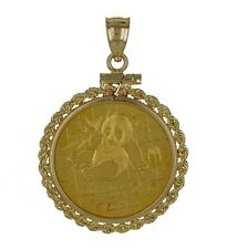 24K 1989 Chinese Gold Panda 25 Yuan Gold Coin in 14k Gold Bezel Rope Pendant