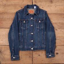 Womens Vintage Levis Red Tab Faded Dark Blue Denim Trucker Jacket M 10 R17768