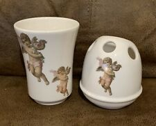 Crowne Oakes Designs, Angel Ceramic Cup and Toothbrush Holder set