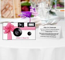 10 Beautiful Pink Ribbon Disposable Camera, PERSONALIZED