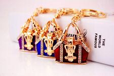 Vintage Style Handbag Shape Crystal Diamante Bag Charm Pendant Keyring