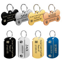 Personalized Dog Tags Stainless Steel Military Bone Pet  Engraved Collar ID Tags