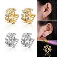 Exquisite gold silber retro blätter ohrringe diamant kristall zirkon ohrringe a+