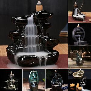 Ceramic Waterfall Backflow Smoke Incense Burner Censer Holders w/ Cones Decor