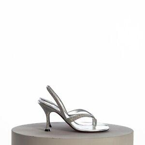 CHRISTIAN LOUBOUTIN 775$ Taralita 85 Sandals In Silver Leather Glitter