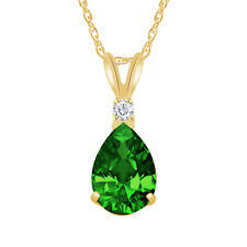 2.50 CT Emerald Pear Shape 2 Stone Gemstone Pendant & Necklace 14K Yellow Gold