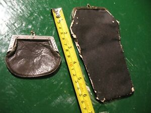 ANTIQUE   COIN  PURSE  LOT  BROWN LEATHER /BLACK  CLOTH KISS LOCK CLASP OLD WEST
