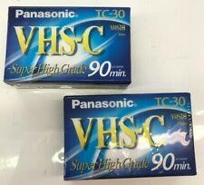 2 Panasonic VHS-C 90 Min Tape TC-30 62m Super High Grade Cassette For Camcorder