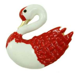 Red and White Enamel Swan with Crystal Eye Brooch Pin - PRS401
