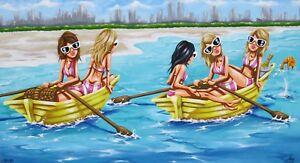 art painting beach landscape boats girls  canvas gold coast australia abstract
