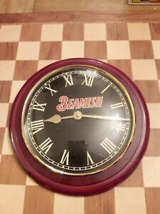 Vintage Advertising Promotional Beamish Irish Stout Wooden Pub Bar Clock 27cm