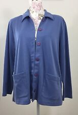 Appleseed's Womens  Button Front Cardigan Jacket Size Large Petite Blue Jacket