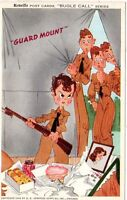1942 Reveille Bugle Call postcard - Guard Mount! Time for Sentry Duty