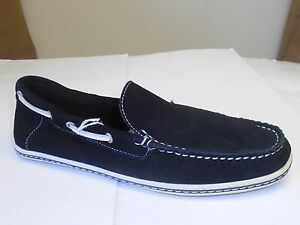 GBX Men's Suspect Imported Suede Black White Flat Slip-On Loafer Size 7.5