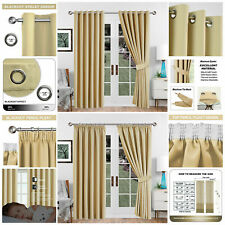 Extra Long Cream Blackout Eyelet Pencil Pleat 2 Panel Curtains With Free Tieback