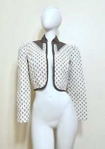 Vintage 70s Quilt Prairie Lace Calico Cropped Prairie Bolero Jacket Shrug Boho S